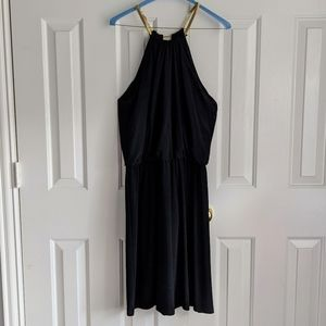 MSK Black Stretchy Dress with Gold Chain Straps
